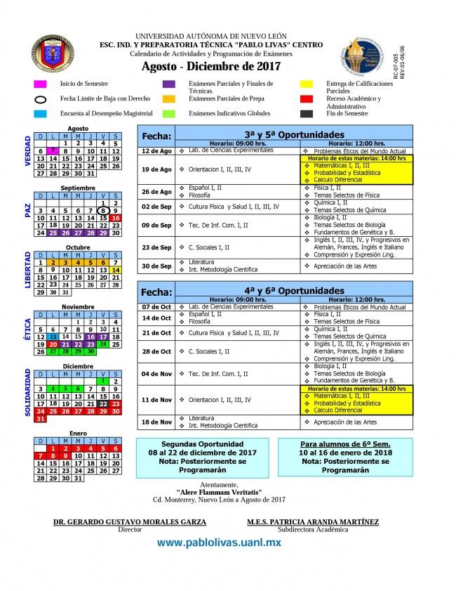 Calendarios 2018 Uanl